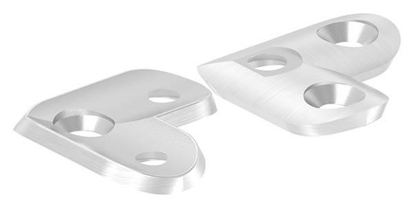 Handlaufanschlussplatte 90° für Rohr Ø 42,4 mm mit gesenkten Außenbohrungen V2A