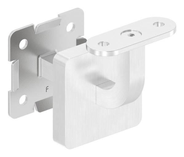Handlaufhalter mit Cliprosette und Halteplatte für Vierkantrohr V2A