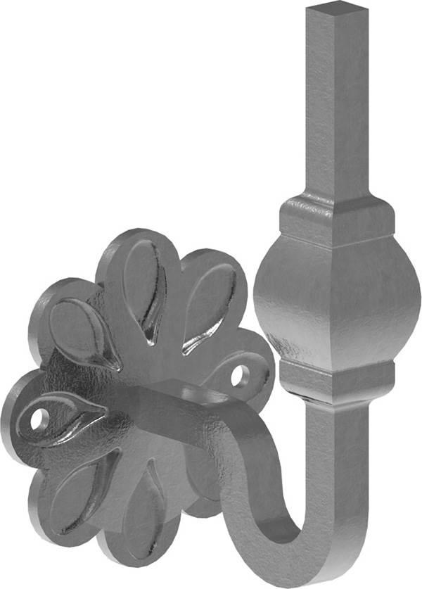 Handlaufhalter | mit Ronde 70x93 mm |  zum Anschweißen | Stahl S235JR, roh