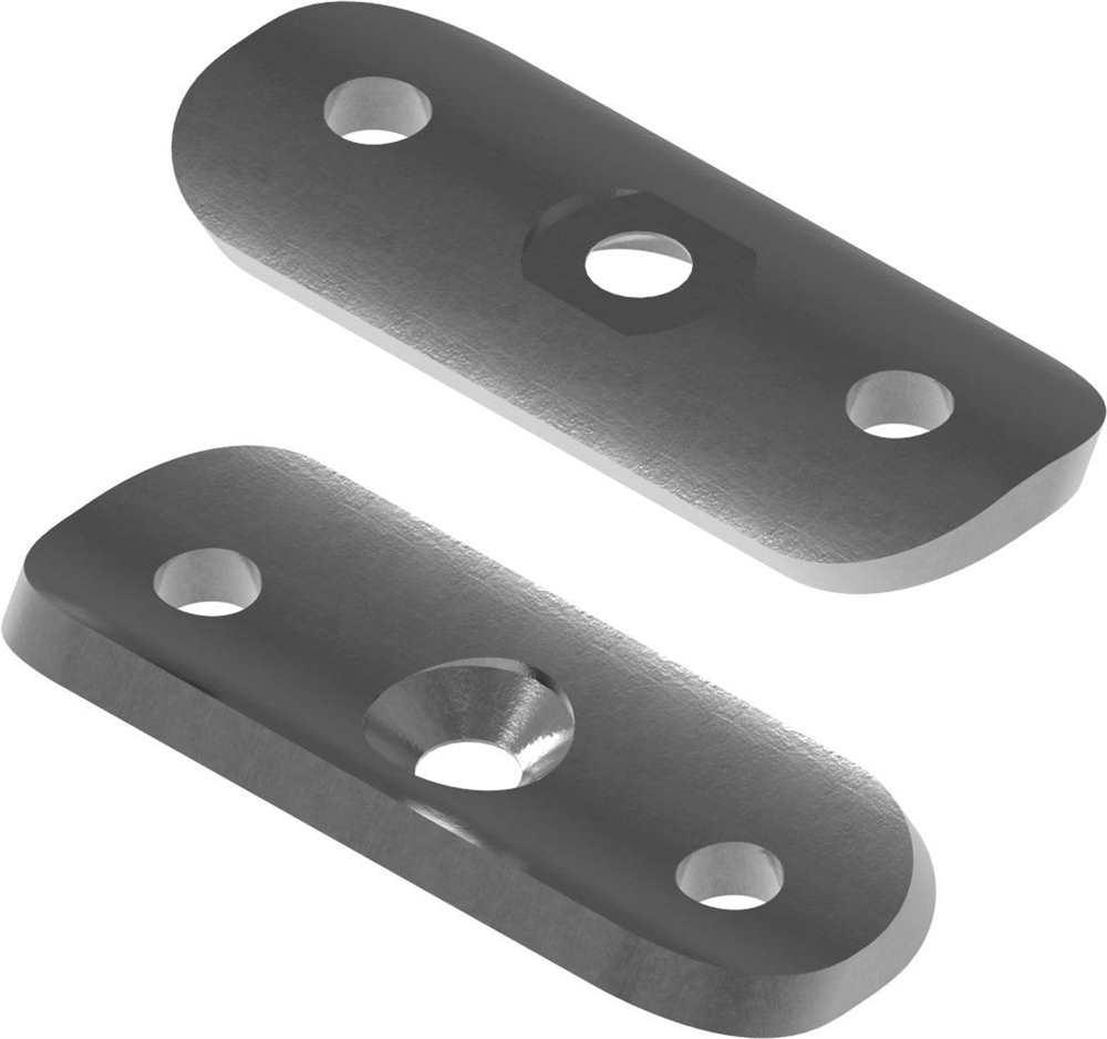 Halteplatte | 64x24x4 mm | für Rundrohr Ø 33,7 mm | Stahl S235JR, roh