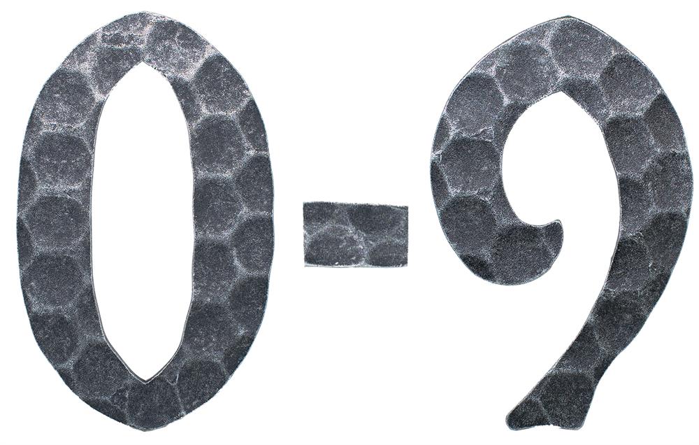 Hausnummer 0 - 9 | Abmessung: 12x8 cm | Material: 4 mm gehämmert | Stahl (Roh) S235JR