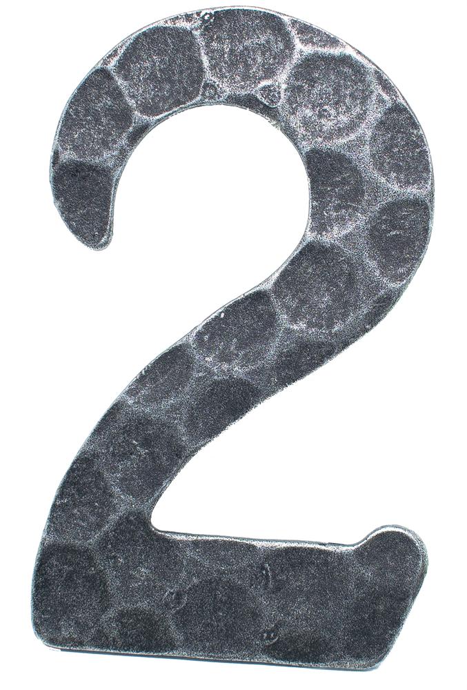 Hausnummer 2 | Abmessung 12x8 cm | Material 4 mm gehämmert | Stahl (Roh) S235JR