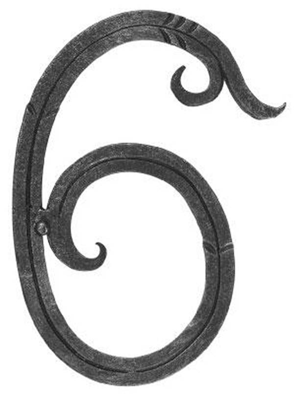 Hausnummer 6 | Abmessung 18x10 cm | Material 12x5 mm | Stahl (Roh) S235JR