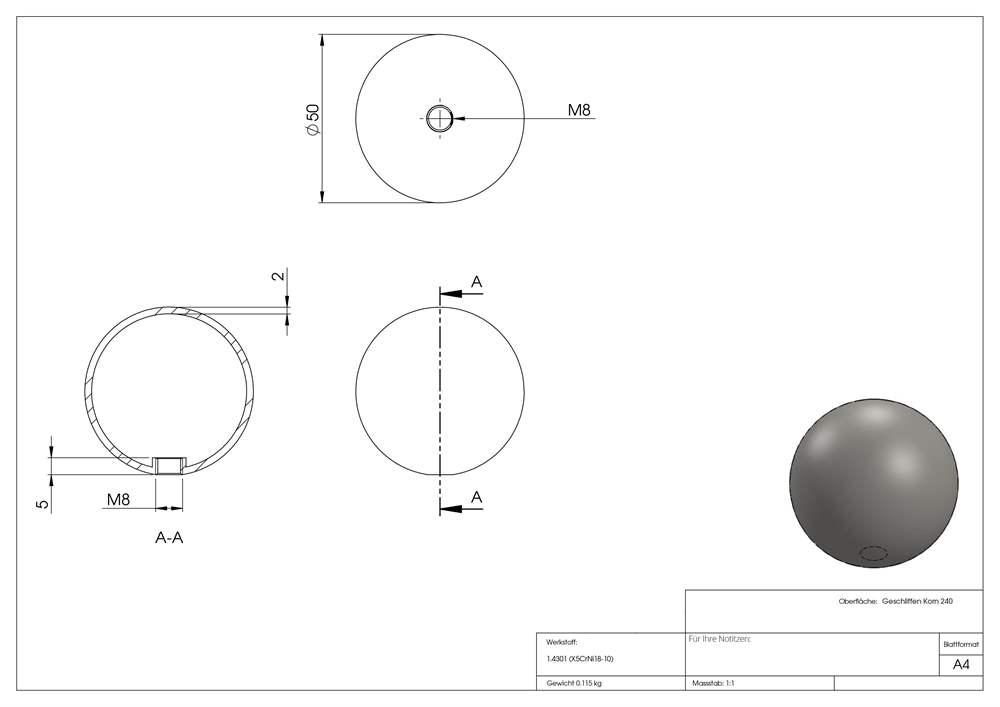 Hohlkugel Ø 50 mm mit Gewinde M8 V2A