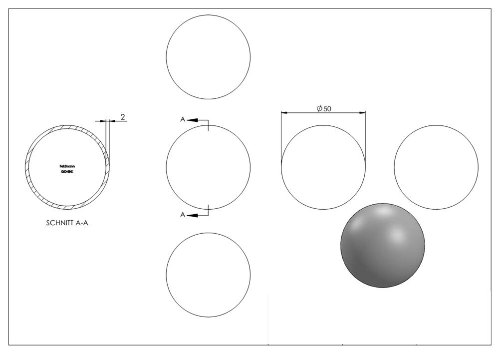 Hohlkugel | Ø 50 mm | Stahl S235JR, roh