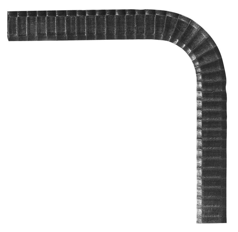 Handlauf-Bogen 90° 50x10 mm (geh., Barock) Stahl   Stahl S235JR, roh