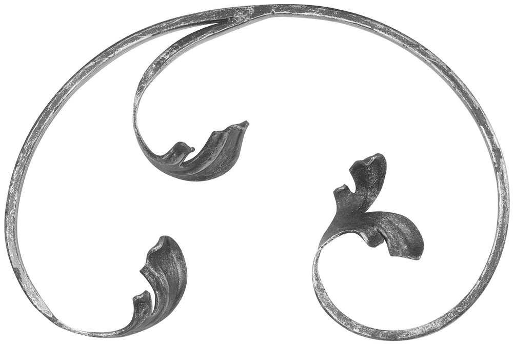 Leichtbarock   150x220 mm rechts   Material 12x5 mm   Stahl S235JR, roh