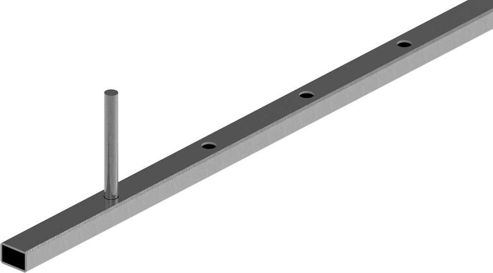 Rechteckrohr | Maße: 30x20x2 mm | einseitig gelocht Ø13 mm | Stahl (Roh) S235JR