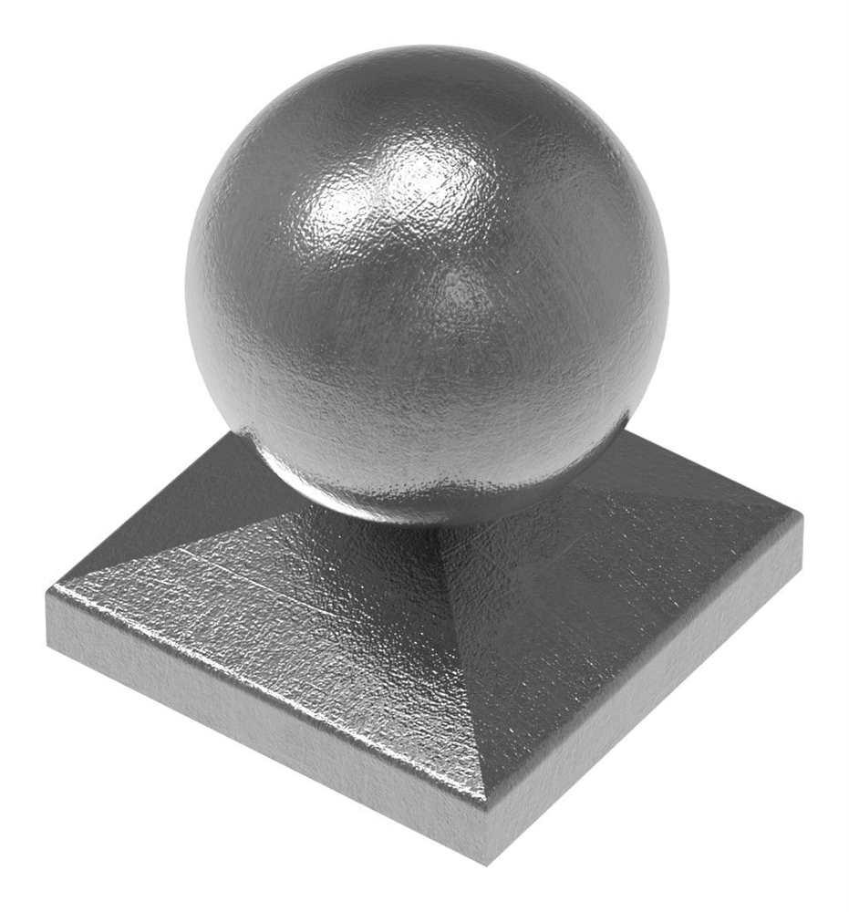 Pfeilerbedecker für Quadratrohr | 30x30 mm | mit Kugel Ø 40 mm | Stahl (Roh) S235JR