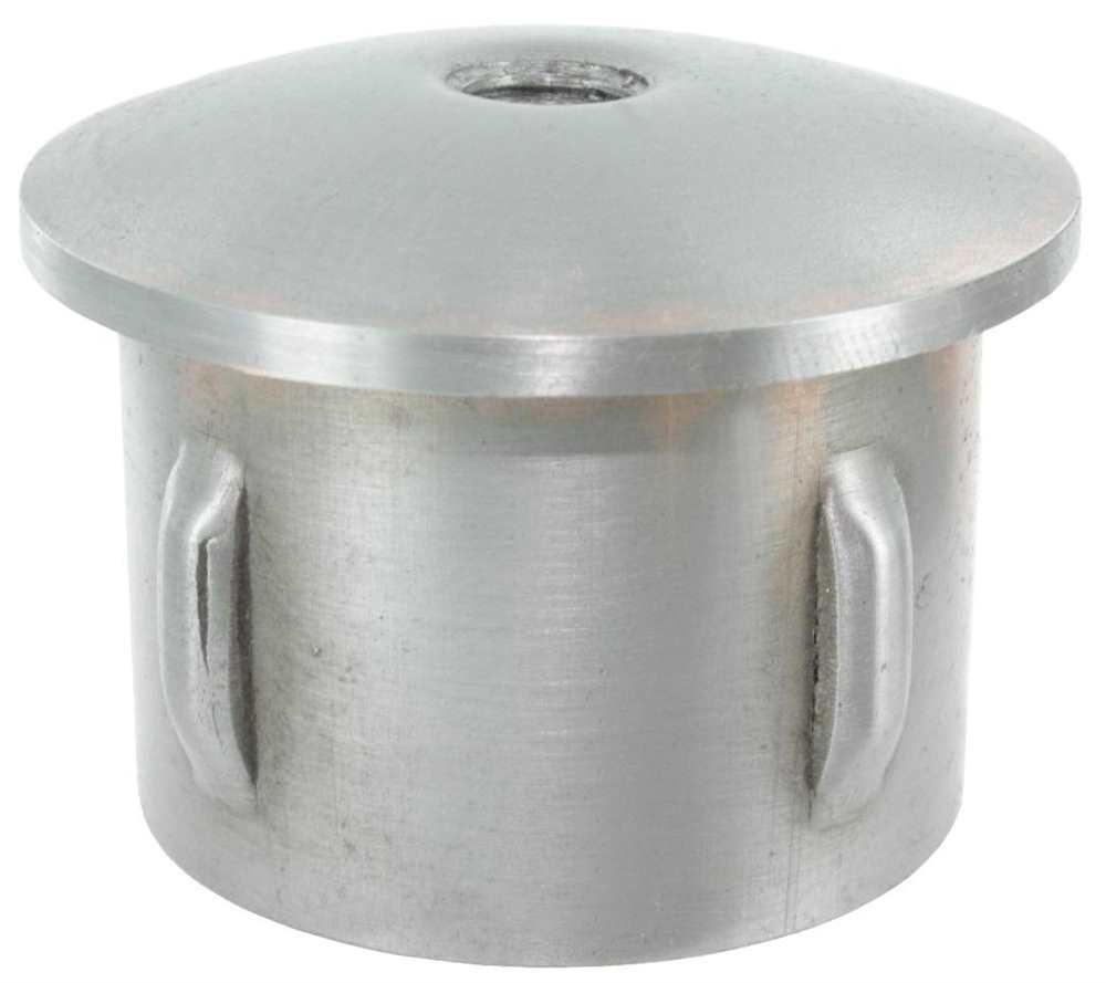 Stahlstopfen | leicht gewölbt | mit M8 | für Ø 33,7x1,8-2,2 mm | Stahl S235JR, roh