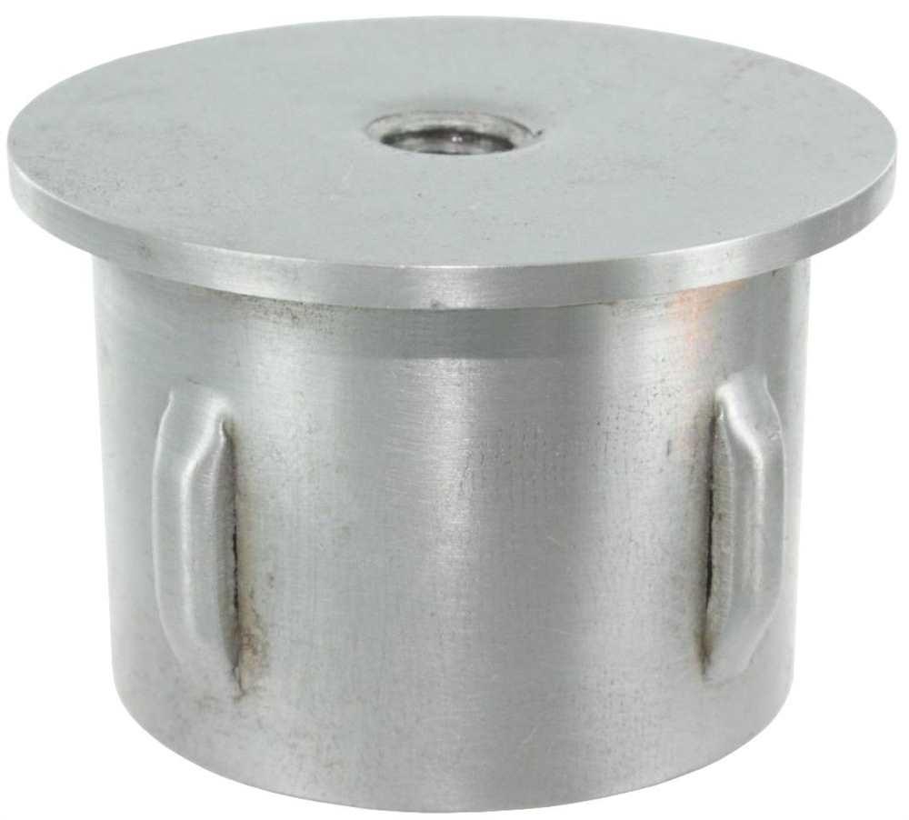 Stahlstopfen flach | mit M8 | für Ø 33,7x2,5-2,9 mm | Stahl S235JR, roh