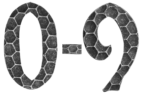 Hausnummer 0 - 9 | Abmessung 12x8 cm | Material 4 mm gehämmert | Stahl (Roh) S235JR