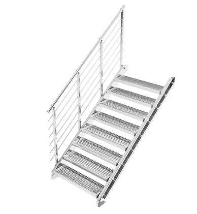Gitterrost Schnellbautreppe | Treppenbausatz | für Geschosshöhe: 1,5 - 2,15 m