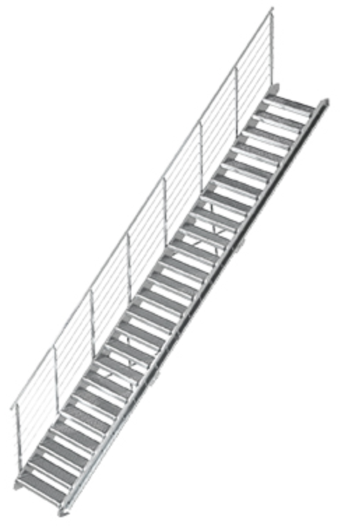 Gitterrost Schnellbautreppe | Treppenbausatz | für Geschosshöhe: 4,4 - 6,0 m