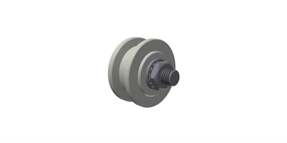 Laufrolle unten, doppelt gelagert, Rollen- Ø 125 mm