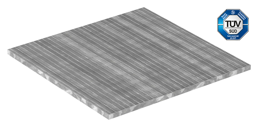 Industrie-Gitterrost | Maße: 1000x1000 mm; 30/10 mm; 30/2 mm | S235JR (St37-2), im Vollbad feuerverzinkt