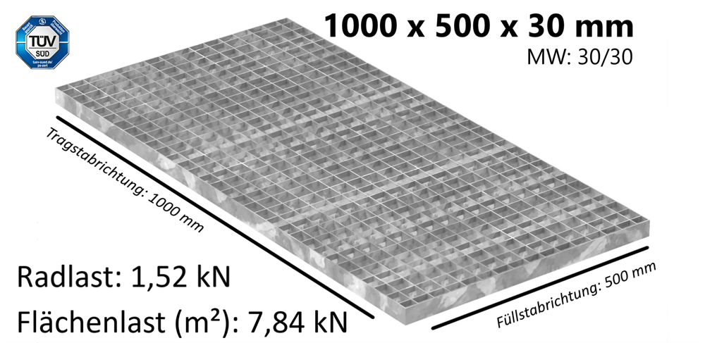 Industrie-Gitterrost | Maße: 1000x500x30 mm; 30/30 mm; 30/2 mm | S235JR (St37-2), im Vollbad feuerverzinkt