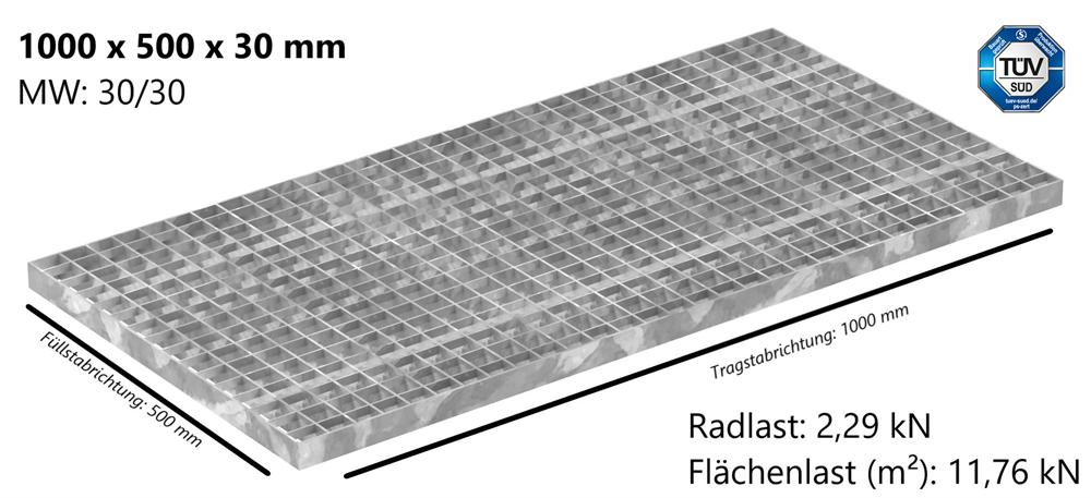 Industrie-Gitterrost | Maße: 1000x500x30 mm; MW 30/30 mm; 30/3 mm | S235JR (St37-2), im Vollbad feuerverzinkt