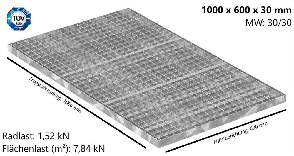 Industrie-Gitterrost | Maße: 1000x600x30 mm; MW 30/30 mm; 30/2 mm | S235JR (St37-2), im Vollbad feuerverzinkt