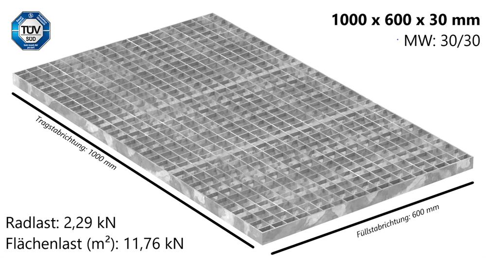 Industrie-Gitterrost | Maße: 1000x600x30 mm; MW 30/30 mm; 30/3 mm | S235JR (St37-2), im Vollbad feuerverzinkt
