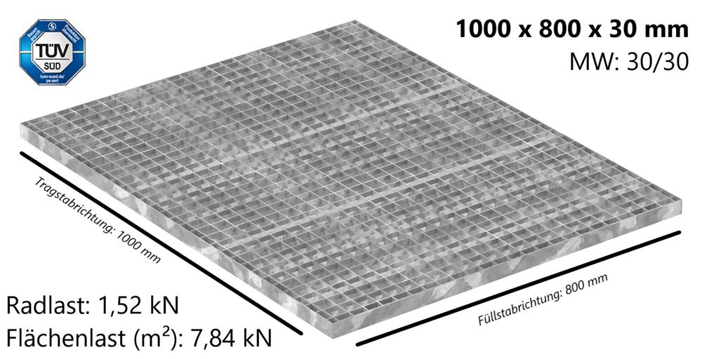 Industrie-Gitterrost | Maße: 1000x800x30 mm; MW 30/30 mm; 30/2 mm | S235JR (St37-2), im Vollbad feuerverzinkt