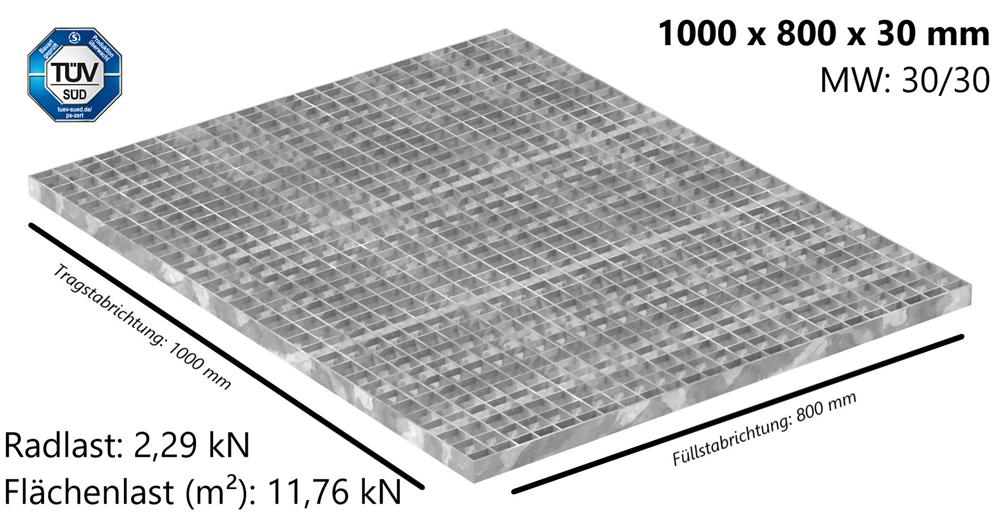 Industrie-Gitterrost | Maße: 1000x800x30 mm; MW 30/30 mm; 30/3 mm | S235JR (St37-2), im Vollbad feuerverzinkt