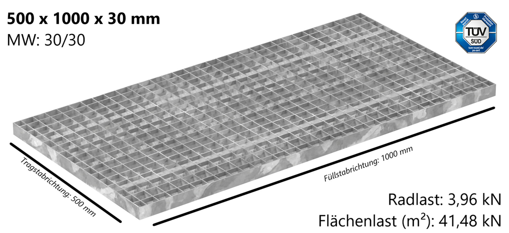 Industrie-Gitterrost | Maße: 500x1000x30 mm; MW 30/30 mm; 30/2 mm | S235JR (St37-2), im Vollbad feuerverzinkt