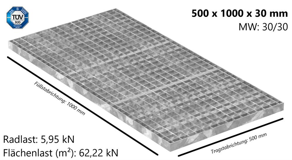 Industrie-Gitterrost | Maße: 500x1000x30 mm; MW 30/30 mm; 30/3 mm | S235JR (St37-2), im Vollbad feuerverzinkt