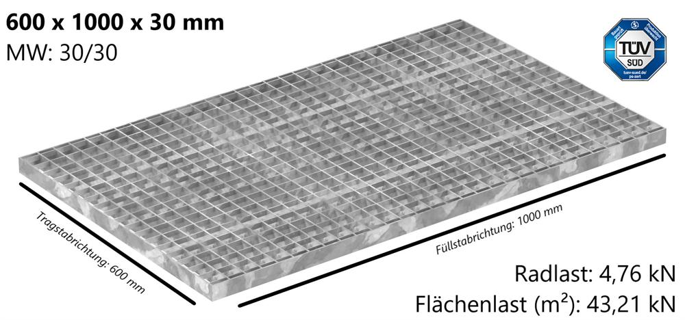Industrie-Gitterrost | Maße: 600x1000x30 mm; MW 30/30 mm; 30/3 mm | S235JR (St37-2), im Vollbad feuerverzinkt