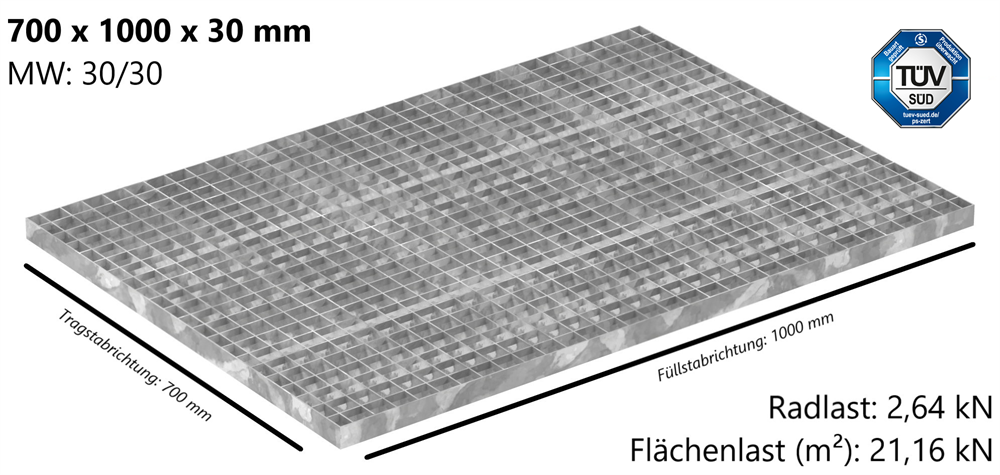 Industrie-Gitterrost | Maße: 700x1000x30 mm; MW 30/30 mm; 30/2 mm | S235JR (St37-2), im Vollbad feuerverzinkt