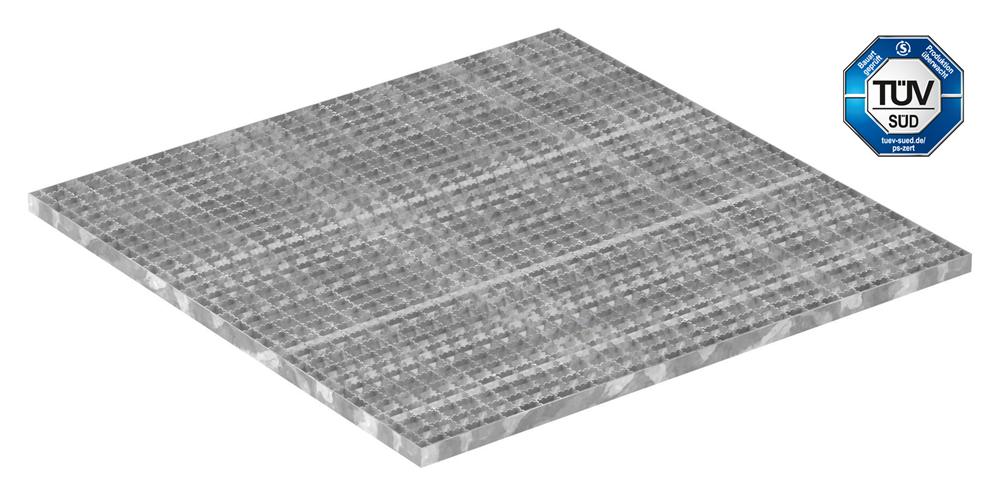 Industrie-Gitterrost | Maße: 1000x1000 mm; 30/30 mm; 30/2 mm R12 | S235JR (St37-2), im Vollbad feuerverzinkt