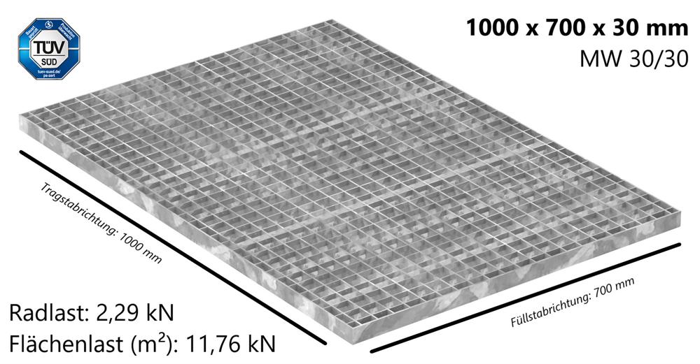 Industrie-Gitterrost | Maße: 1000x700x30 mm; MW 30/30 mm; 30/3 mm | S235JR (St37-2), im Vollbad feuerverzinkt