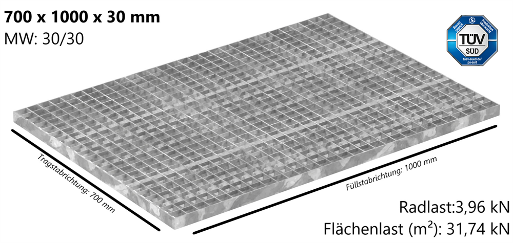Industrie-Gitterrost | Maße: 700x1000x30 mm; MW 30/30 mm; 30/3 mm | S235JR (St37-2), im Vollbad feuerverzinkt