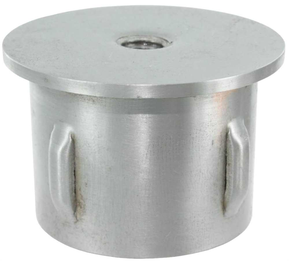 Stahlstopfen | mit M8 | leicht gewölbt | für Rohr Ø 42,4 mm | Stahl (Roh) S235JR