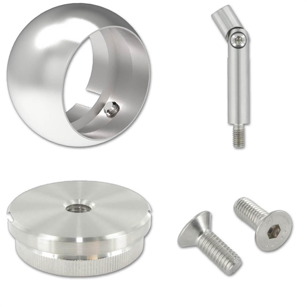 Komplett Set mit Kugelringhalter für Rundrohr Ø 42,4x2,0 mm V2A
