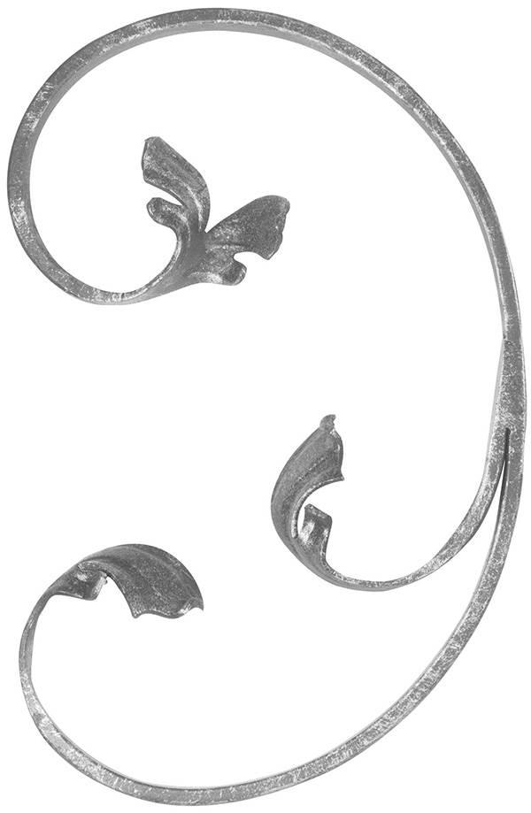 Leichtbarock | links | Maße: 150x220 mm | Material: 12x5 mm | Stahl S235JR, roh