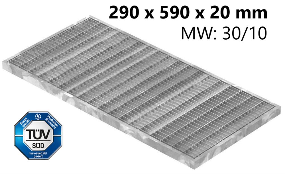 Lichtschachtrost Baunormrost | Maße:  290x590x20 mm 30/10 mm | aus S235JR (St37-2), im Vollbad feuerverzinkt