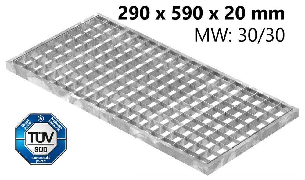 Lichtschachtrost Baunormrost | Maße:  290x590x20 mm 30/30 mm | aus S235JR (St37-2), im Vollbad feuerverzinkt
