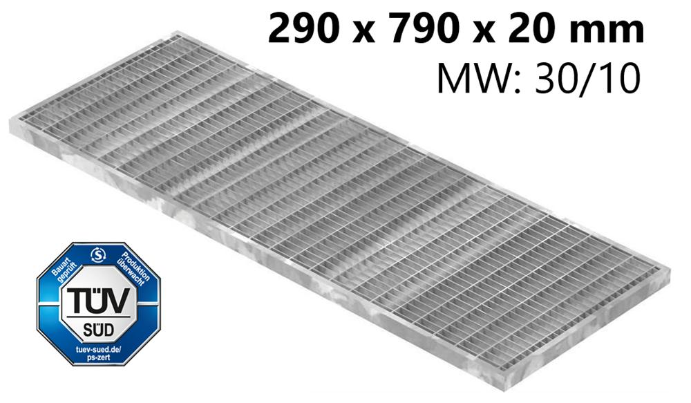 Lichtschachtrost Baunormrost | Maße:  290x790x20 mm 30/10 mm | aus S235JR (St37-2), im Vollbad feuerverzinkt