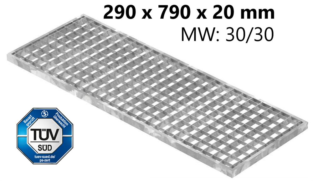 Lichtschachtrost Baunormrost | Maße:  290x790x20 mm 30/30 mm | aus S235JR (St37-2), im Vollbad feuerverzinkt
