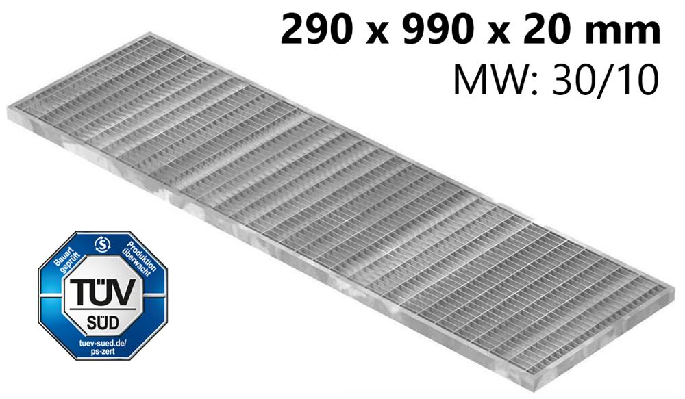 Lichtschachtrost Baunormrost | Maße:  290x990x20 mm 30/10 mm | aus S235JR (St37-2), im Vollbad feuerverzinkt