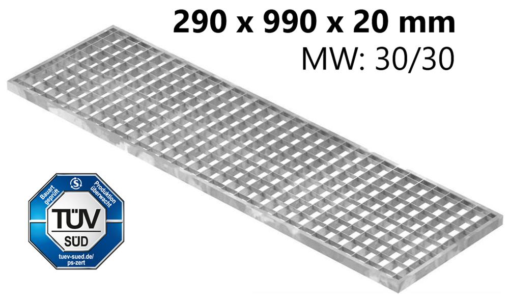 Lichtschachtrost Baunormrost | Maße:  290x990x20 mm 30/30 mm | aus S235JR (St37-2), im Vollbad feuerverzinkt
