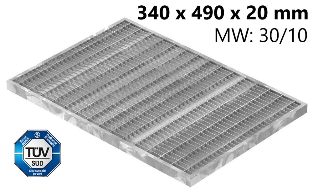 Lichtschachtrost Baunormrost | Maße:  340x490x20 mm 30/10 mm | aus S235JR (St37-2), im Vollbad feuerverzinkt
