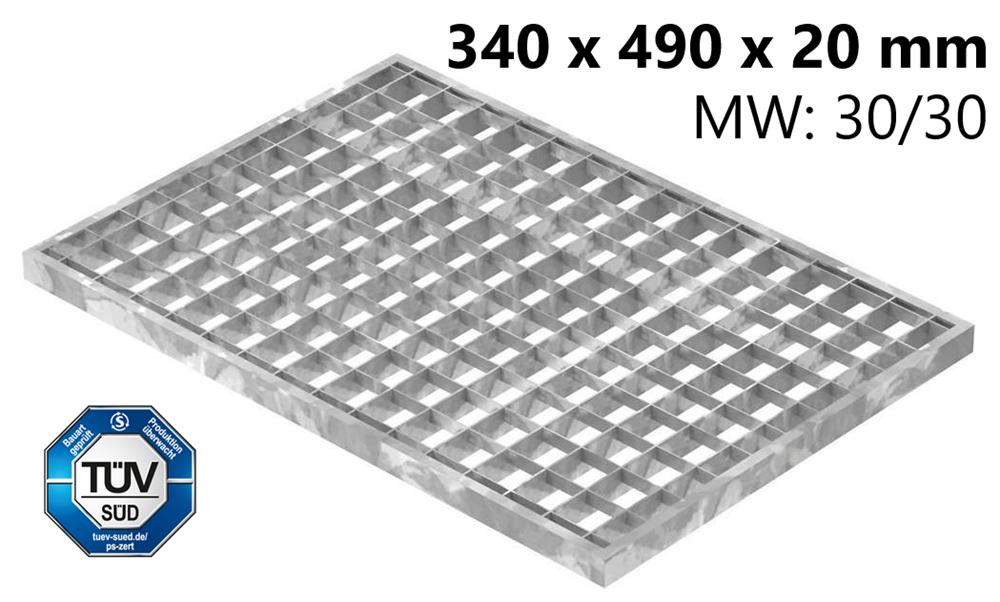 Lichtschachtrost Baunormrost | Maße:  340x490x20 mm 30/30 mm | aus S235JR (St37-2), im Vollbad feuerverzinkt