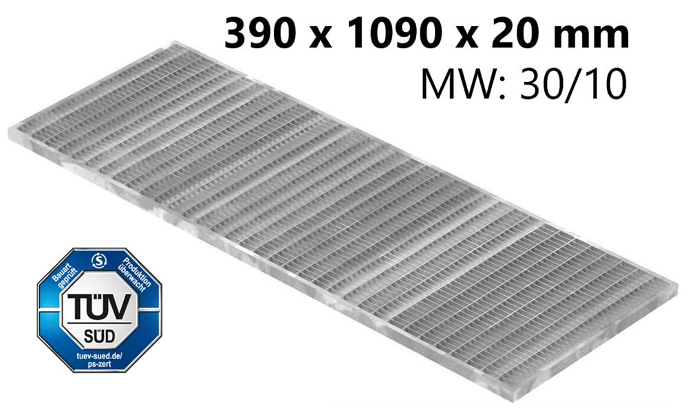 Lichtschachtrost Baunormrost | Maße:  390x1090x20 mm 30/10 mm | aus S235JR (St37-2), im Vollbad feuerverzinkt