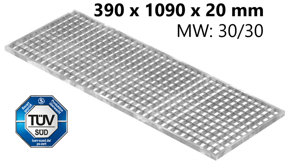 Lichtschachtrost Baunormrost | Maße:  390x1090x20 mm 30/30 mm | aus S235JR (St37-2), im Vollbad feuerverzinkt