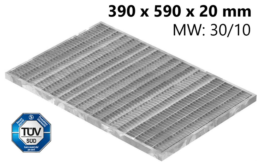 Lichtschachtrost Baunormrost | Maße:  390x590x20 mm 30/10 mm | aus S235JR (St37-2), im Vollbad feuerverzinkt