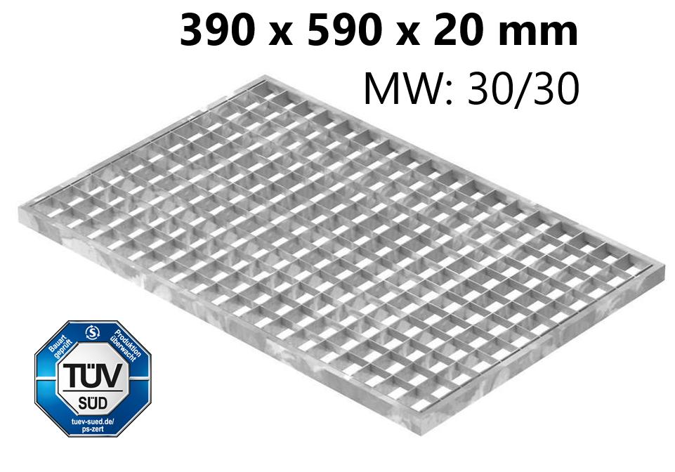 Lichtschachtrost Baunormrost | Maße:  390x590x20 mm 30/30 mm | aus S235JR (St37-2), im Vollbad feuerverzinkt