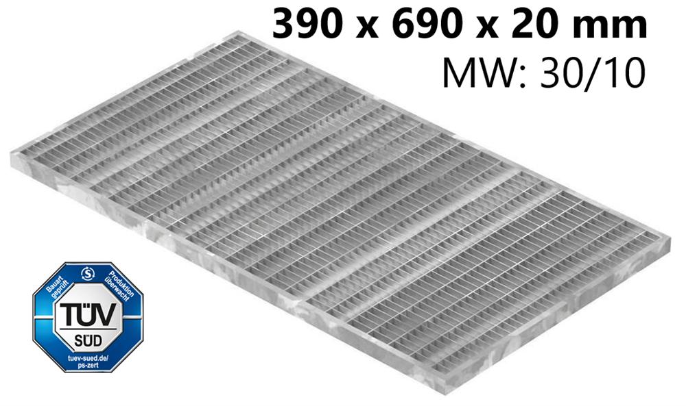 Lichtschachtrost Baunormrost | Maße:  390x690x20 mm 30/10 mm | aus S235JR (St37-2), im Vollbad feuerverzinkt