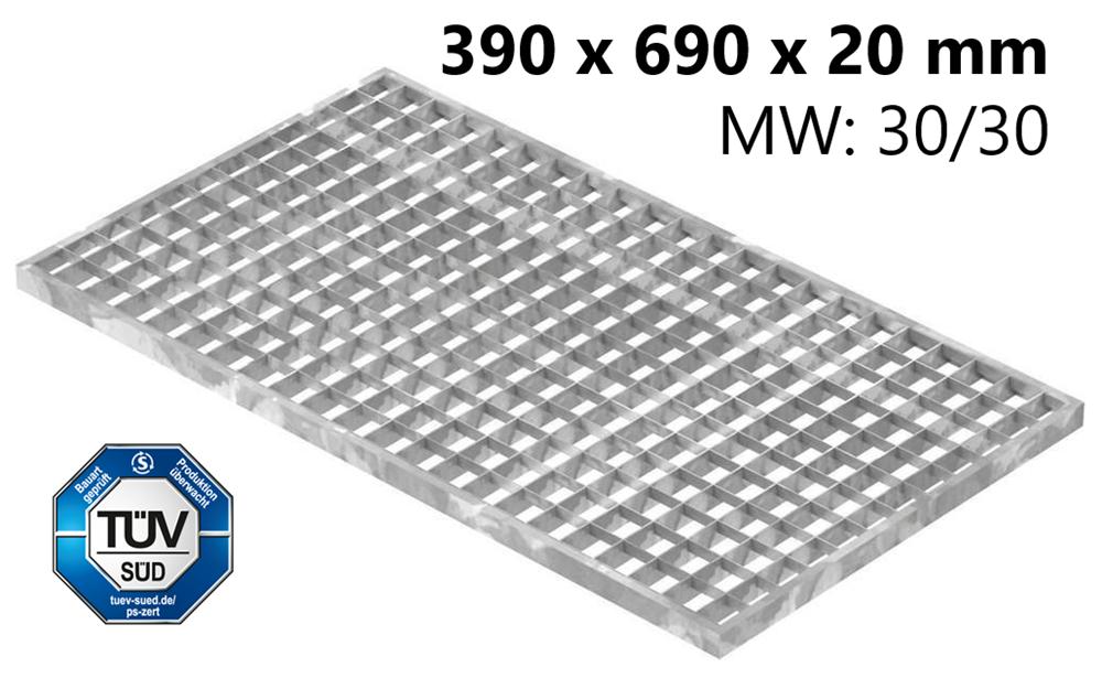 Lichtschachtrost Baunormrost | Maße:  390x690x20 mm 30/30 mm | aus S235JR (St37-2), im Vollbad feuerverzinkt